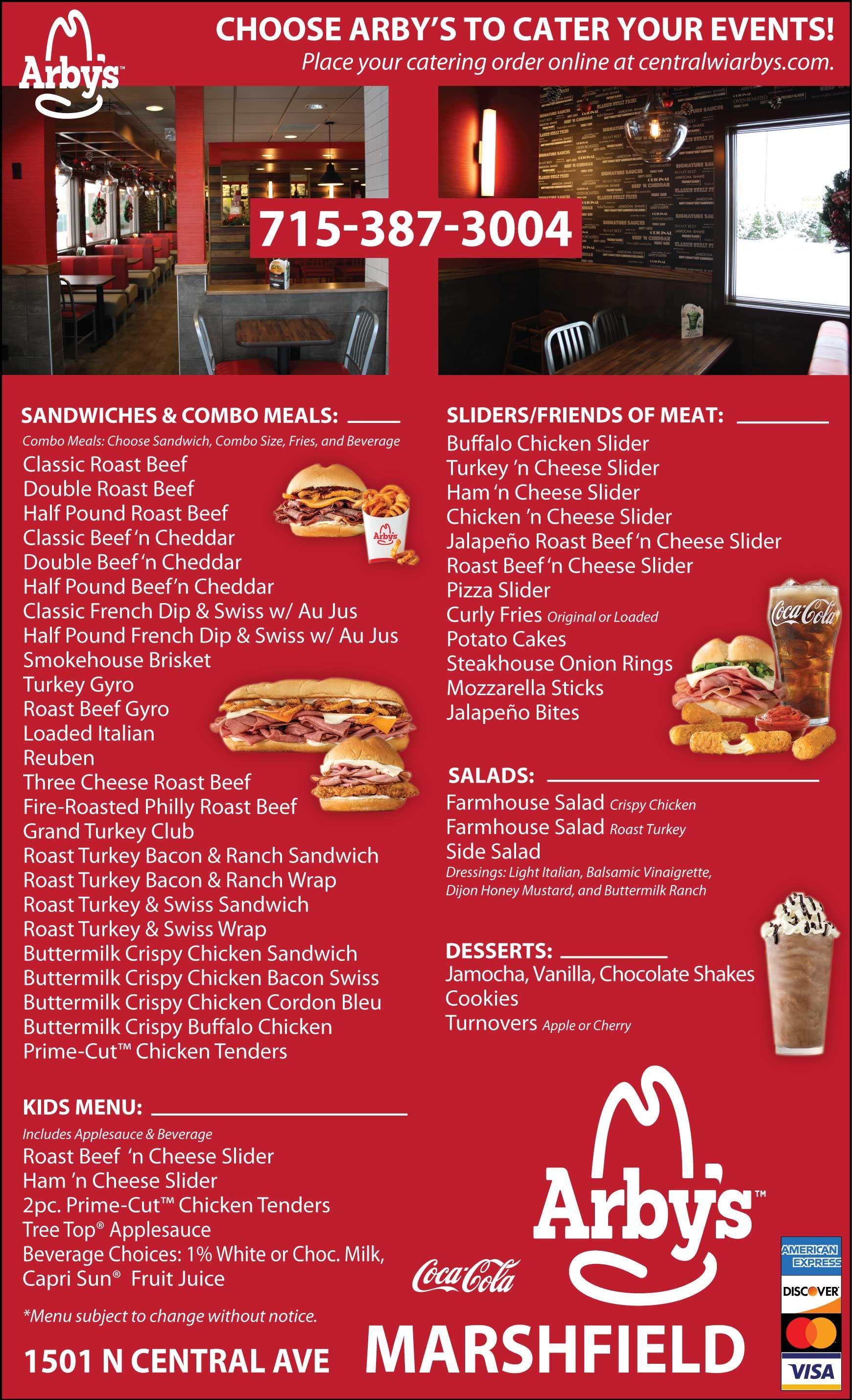 Arby's Restaurant Menu Marshfield WI