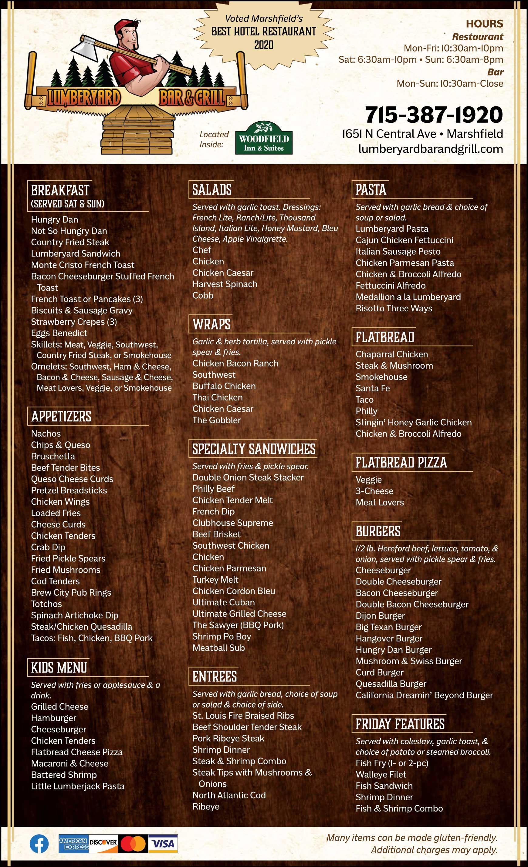 Lumberyard Bar & Grill Restaurant Menu Marshfield WI
