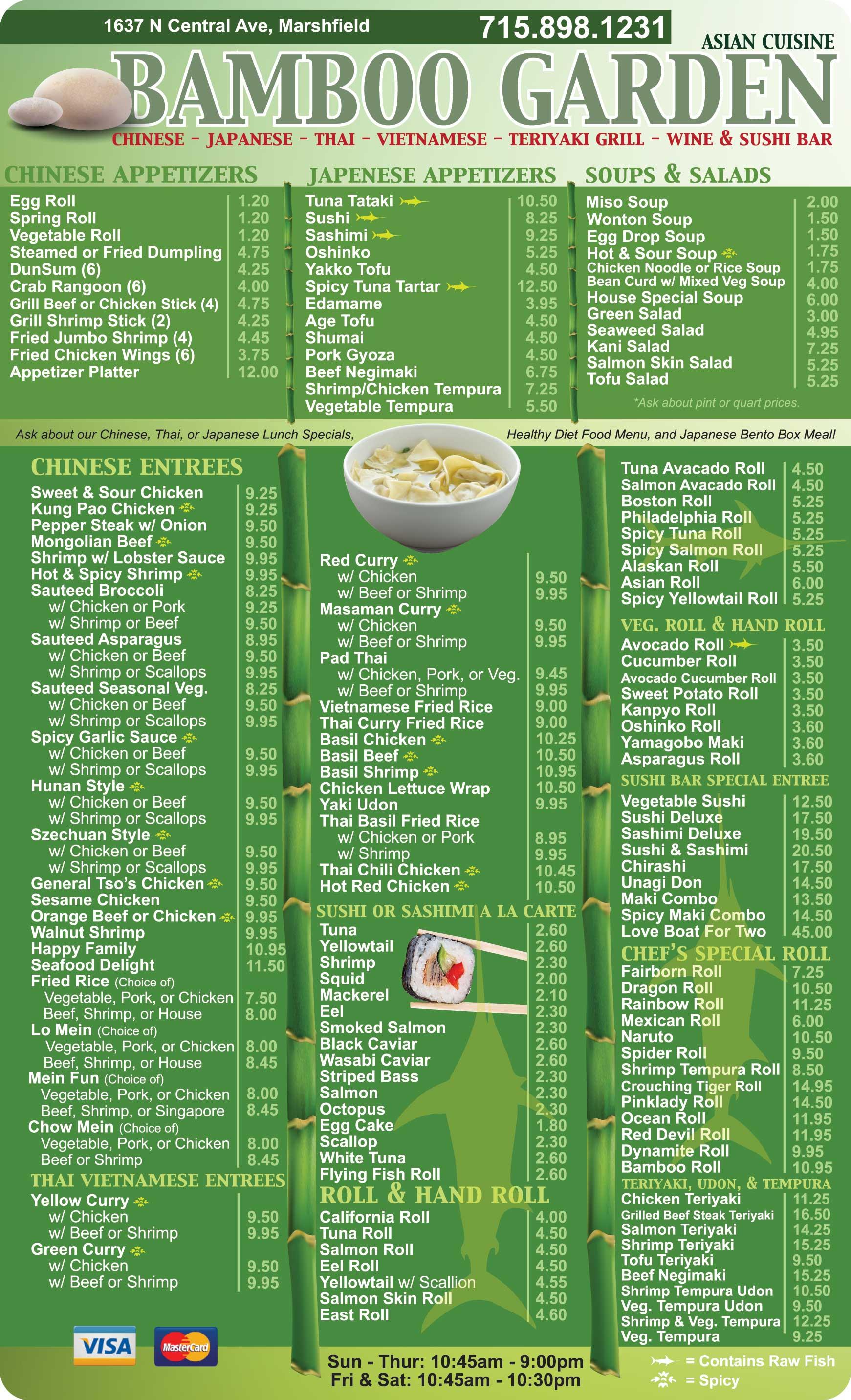 Bamboogarden Chinees Menu Restaurant Marshfield Wi