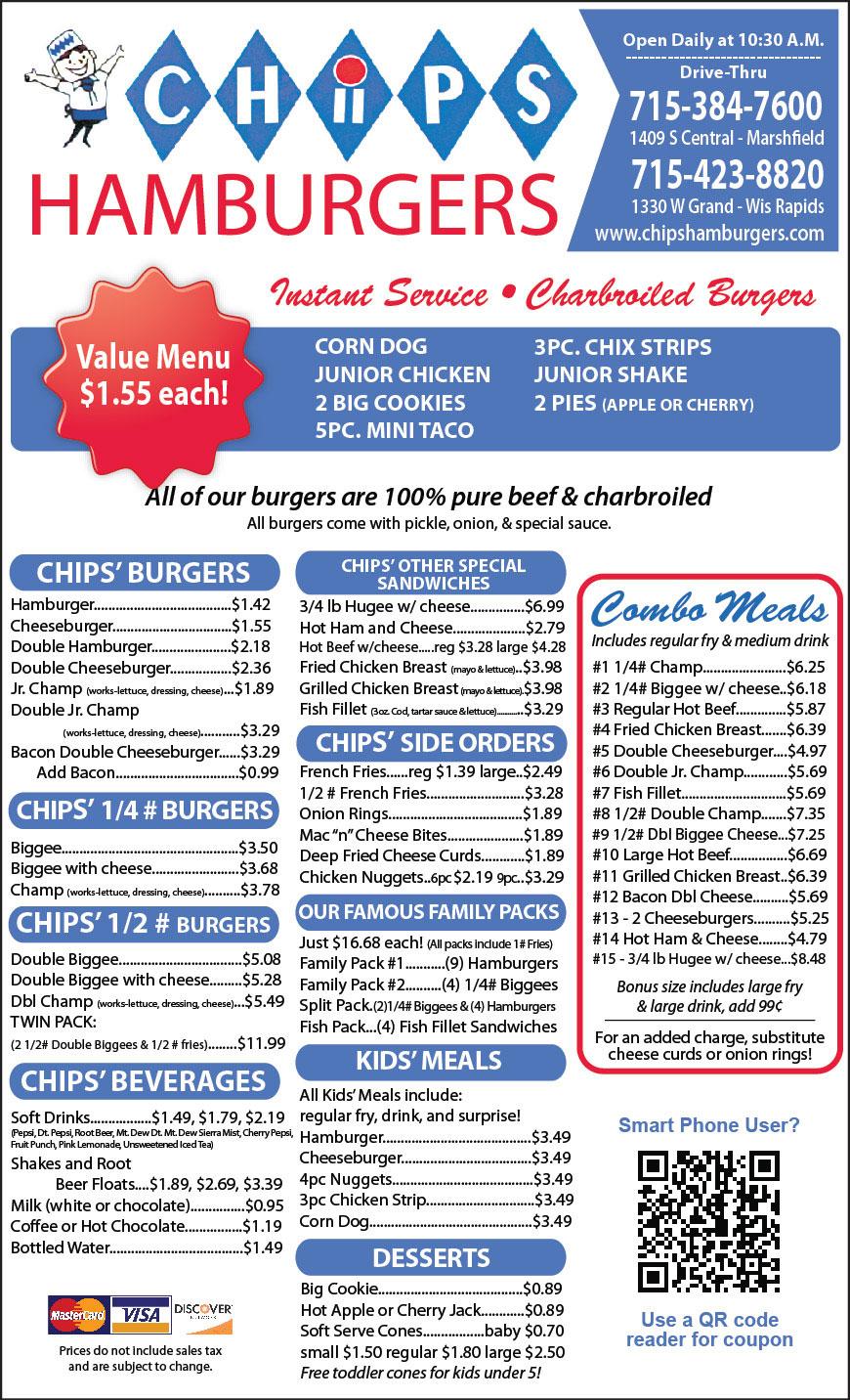 Chips Hamburgers Restaurant Menu Marshfield WI