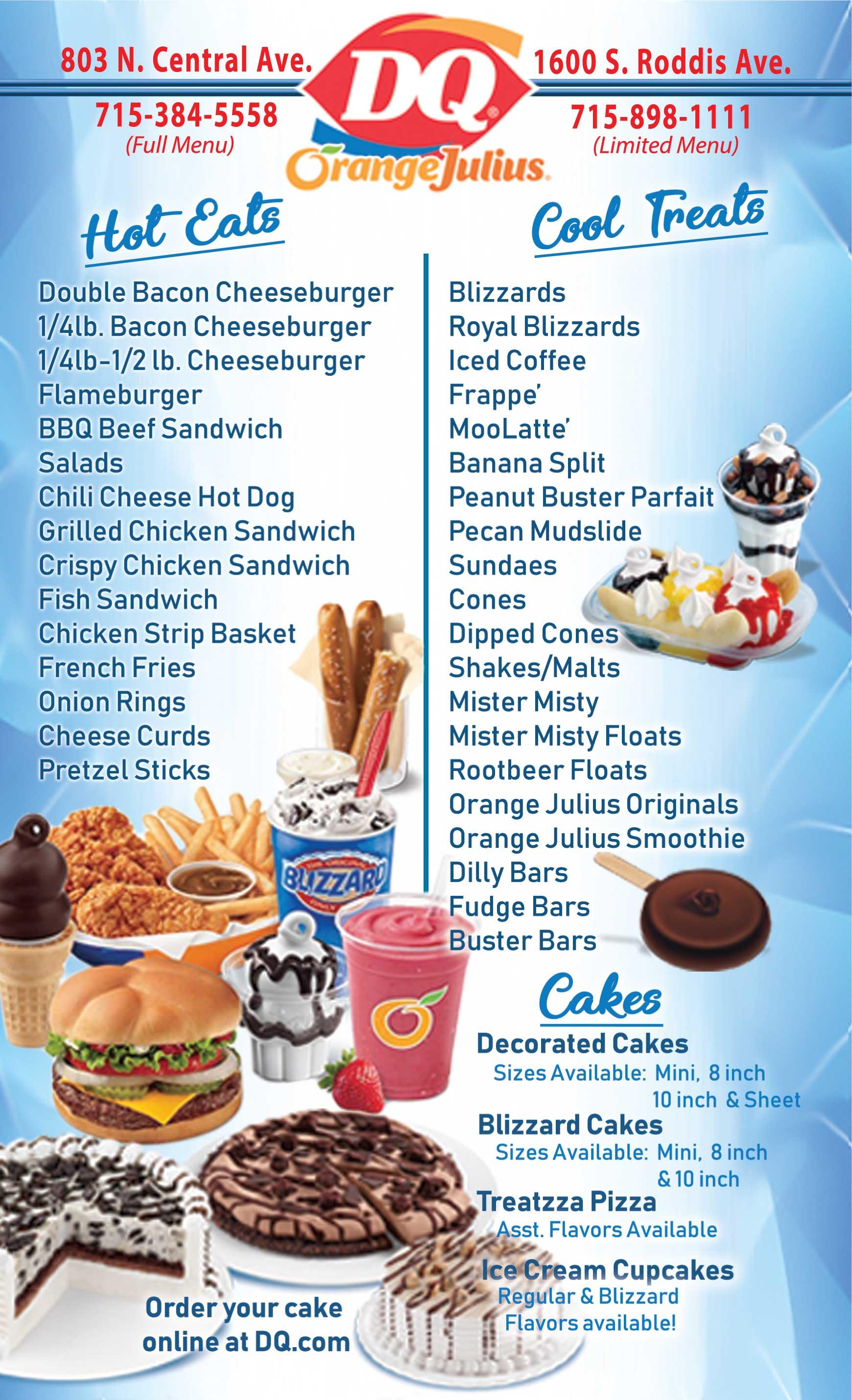 Dairy Queen Fast Food Ice Cream Menu Restaurant