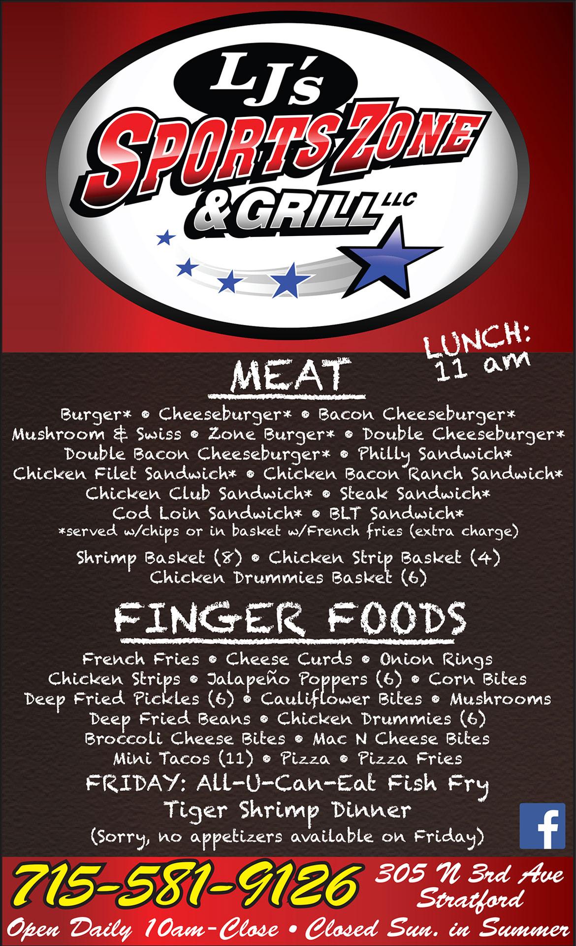 Buck-A-Neer Supper Club Restaurant Menu Stratford (Rozellville), WI