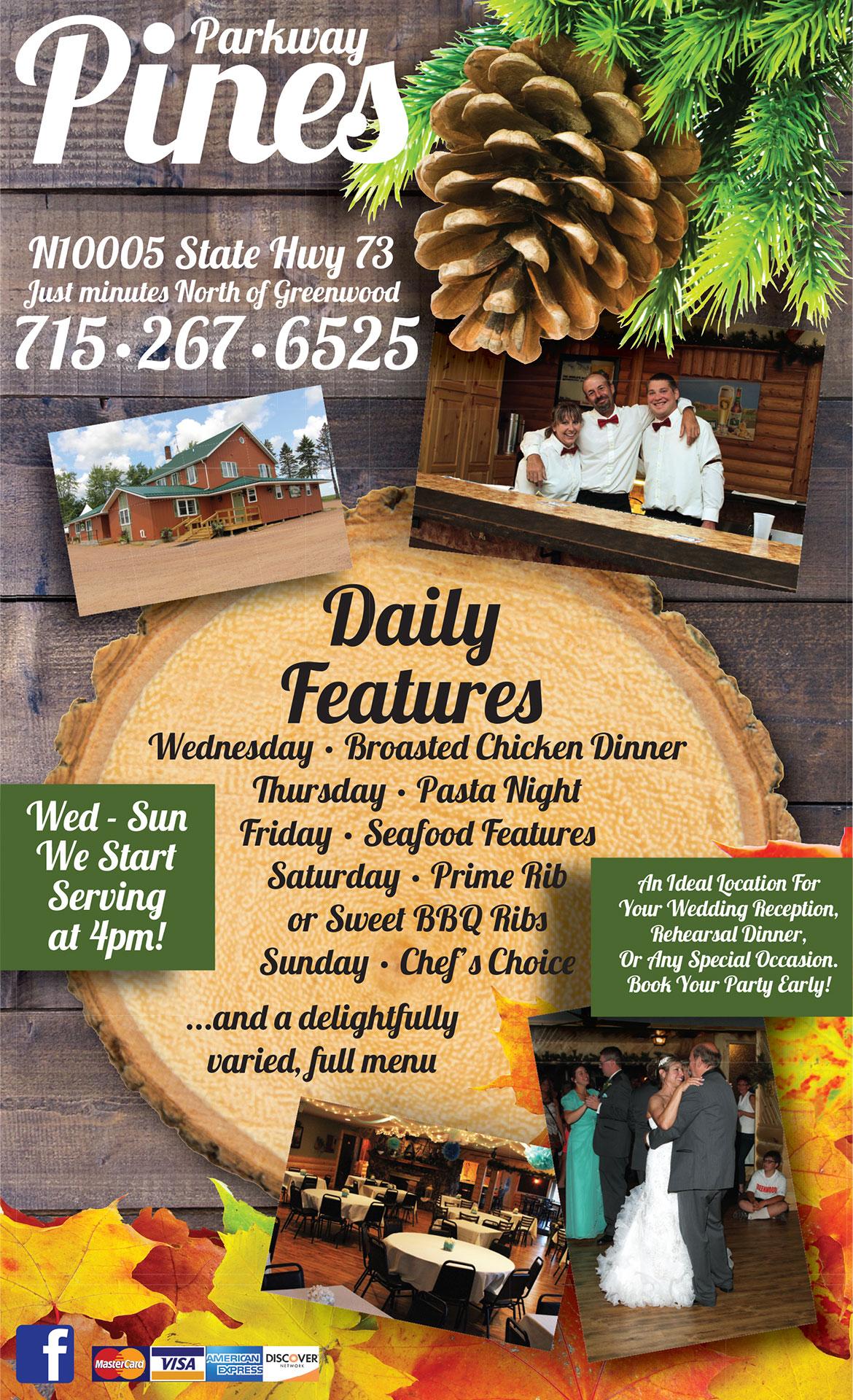 Parkway Pines Restaurant Menu Marshfield WI