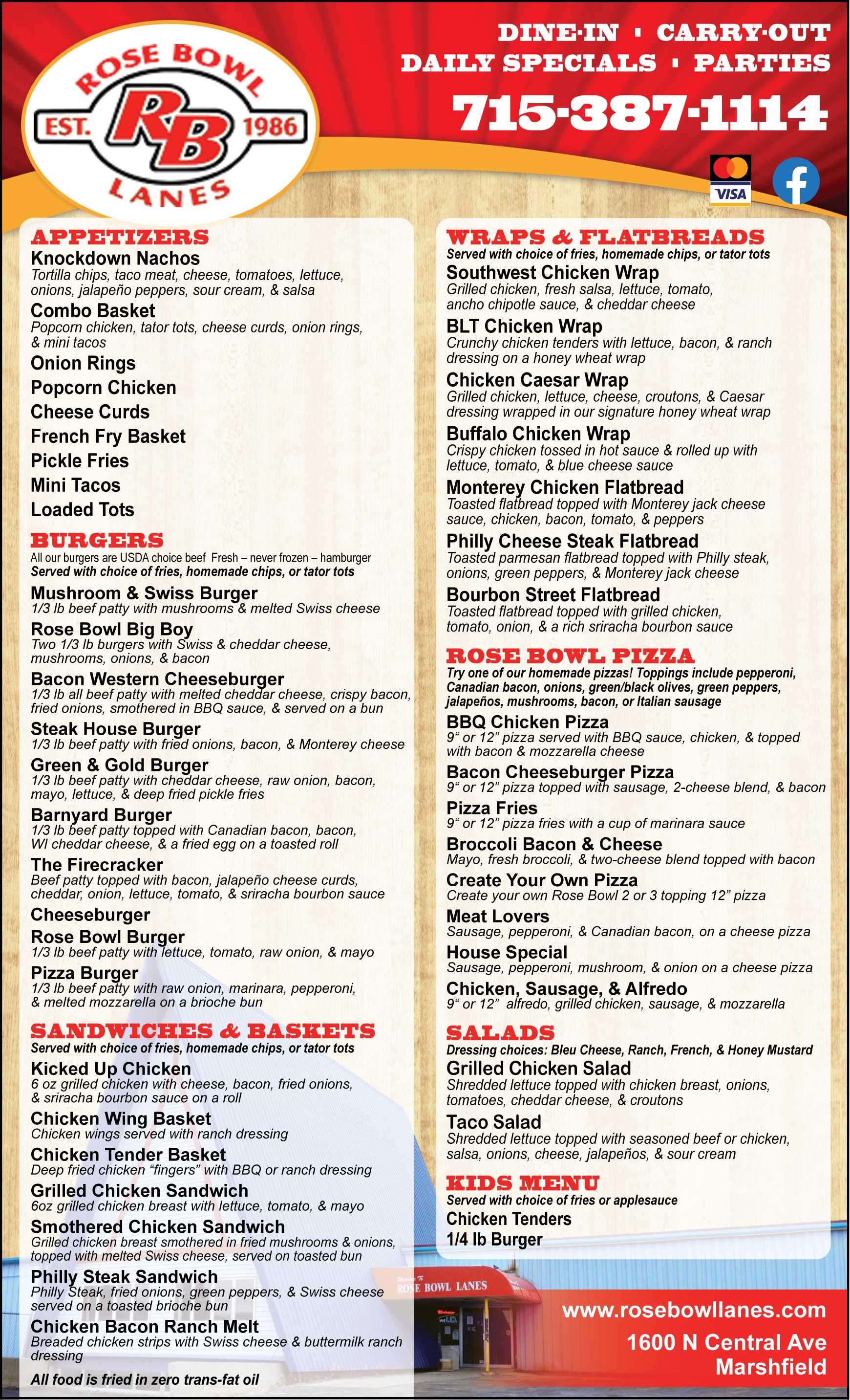Rose Bowl Lanes Restaurant Menu Marshfield WI